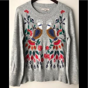 LOFT embroidered gray sweater